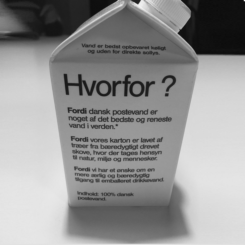 A carton of tap water describing why you should always drink water from the tap if possible.